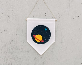 SATURN - Wall Banner, customizable, Canvas wall banner, canvas banner, wall decor, wall hanging. SIZE M.
