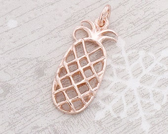 1 of 925 Sterling Silver Rose Gold Vermeil Style Pineapple Pendant 9x20 mm.  :pg0241