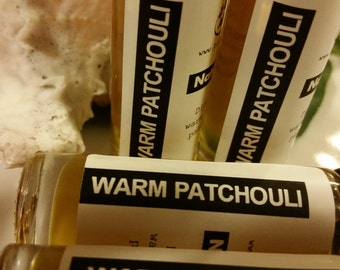 Warm Patchouli natural Perfume Oil, blend of  therapeutic grade essential oils in a roll on bottle, 0.33oz.