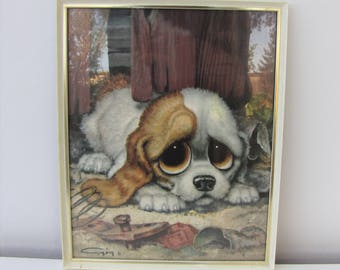 Vintage Pity Puppy Glazed Picture in Original Frame Framed by Boots Print by Gig Retro Kitsch Wall Art