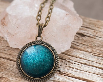 Teal Pendant Necklace, Glitter Necklace, Magical Pendant, Glass Dome Necklace, Mystical Glittering Pendant