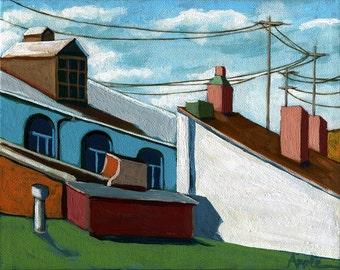SALE! Colorful City Rooftops cityscape buildings print landsacape original painting