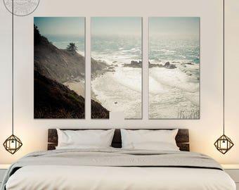big sur wall art - triptych wall art  - california wall art - large canvas prints - large wall art - big sur california photography