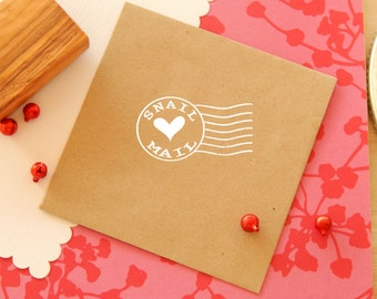 Large Snail Mail with Love- Post Office Franking Stamp mounted on Olive Wood
