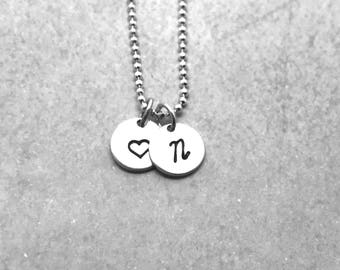 Personalized Heart Necklace, Sterling Silver, Initial Necklace, Heart Necklace, Letter N Necklace, All Letters Available, Hand Stamped