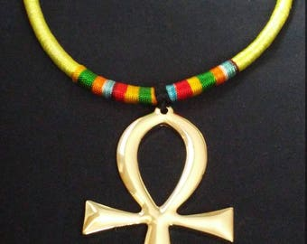 Yellow & Gold Ankh Necklace