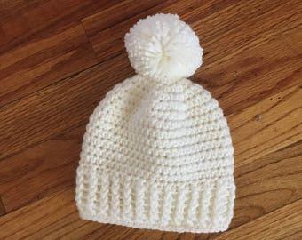 Crochet ribbed baby beanie