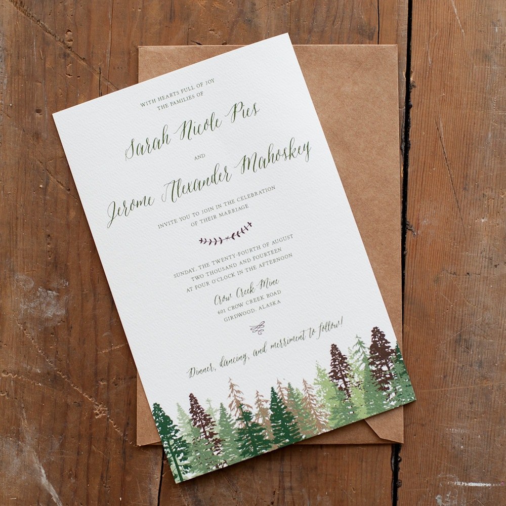 Wedding Invitation Tree Wedding Invitation Mountain Wedding