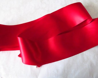 Scarlet Double Face Satin Ribbon  / Ribbon by the yard /  Red Ribbon