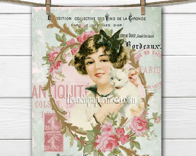 Vintage Shabby Cat Lady, Roses, French Graphics, Fabric Block Image, French Pillow Image, Printable Graphic