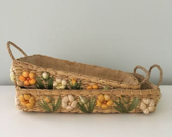 Vintage Casserole Baskets with Raffia Flower Detail