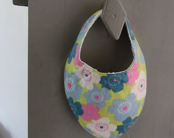 Floral pink and blue bandana bib