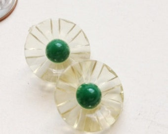 16mm Dainty Vintage Skirted Buttons with Green Centers -Set of 2
