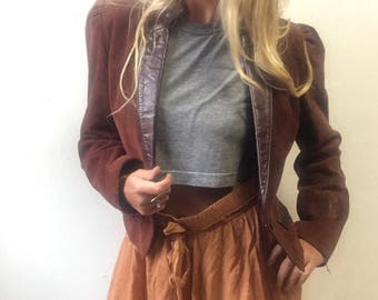 80s wilsons leather cropped jacket