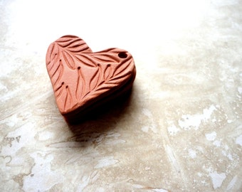 Handmade Heart with Leaf print pendant, Aromatherapy Essential Scented Oil Diffuser, Natural Jewelry Terracotta Bisque Ceramics Unglazed,