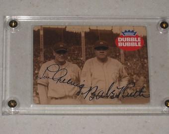 vintage babe ruth & lou gehrig dubble bubble gum card in a screwdown case