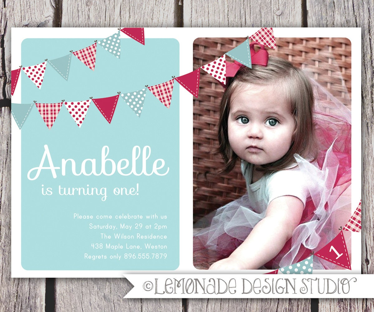 First Birthday Invitation Bunting Flags Banner Photo Printable