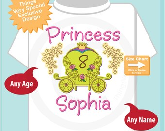 8th birthday Princess Shirt, Personalized Princess Carriage Shirt, Princess with Age Shirt for Toddlers and Kids 08302014b