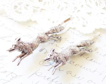 Silver Fox Bobby Pins - Fox Hair Pins - Woodland Hair Pin Set - Forest Friends - Woodland Animal Hair Pins - Wedding Hair - Bridal