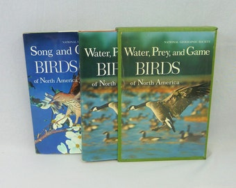 1966 Song and Garden Water Prey & Game Birds of North America in Slipcase - National Geographic - Bird Songs Records - Vintage 1960s Book