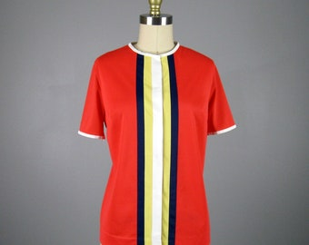 Vintage 1960s Red Nylon Color Block Pajama Top 60s Striped Shirt by Gossard Artemis