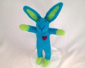 Felted Turquoise Bunny