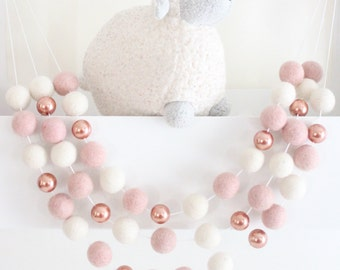 Rose Gold and Blush Felt Ball Garland- Pink Nursery Decor- Rose Gold Decor- Girl Nursery Garland- Pink & Rose Gold Nursery Decor