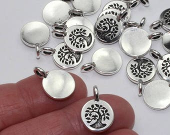 Tree of Life Charms Or Small Pendants, 2+ TierraCast Antique Silver Plated, Lead Free Pewter, Small Bird On A Branch, Smooth Back