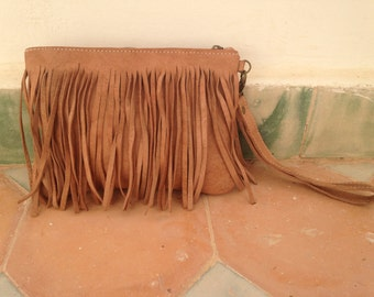 Leather Fringe Purse in Natural