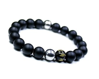 Mantra Bracelet Mens, Wrist Mala Men, OM Mala Bracelet, Spiritual Bead Bracelet Stretch, Men's Strength Bracelet, Mala Yoga Men's Bracelet,