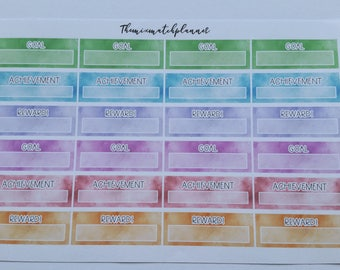 goal planner stickers, achievement stickers,reward stickers, rainbow,self care, functional,mambi,erin condren,personal,TN,