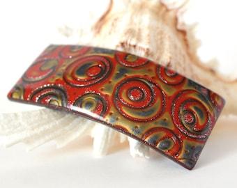 Hair Clip 80 mm ( 3.2 inch )  Hair Bow,Hair Pin, Hair Slide, Barrette, Polymer Clay,Hair Stick, Hair comb, GOLD RED Gray