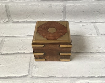 Gorgeous Wood and Brass Hinged Box Brass Decoration