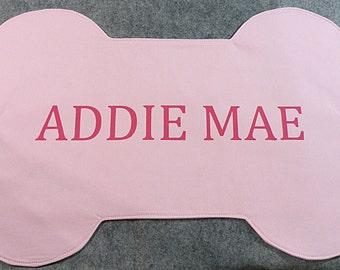 Pink Dog Placemat,  Bone Placemat, Personalized Dog Mat
