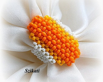 Statement Beadwoven Seed Bead Coctail Ring, Beaded High Fashion Jewelry, Art Beadwork, RAW, Accessory for Women, Gift for Her, OOAK