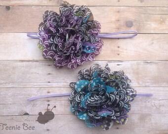 Purple Flower headband - Blue Flower headband - Purple Floral headband - Blue Floral headband - Chiffon Flower headband
