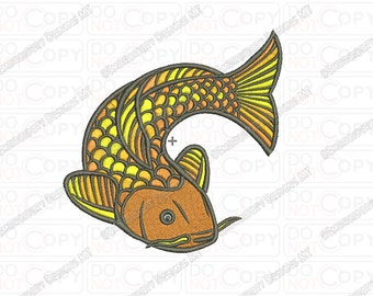 Koi Fish Embroidery Design in 3x3 4x4 and 5x5 Sizes