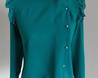 Turquoise 70's blouse Eber San Francisco size Small