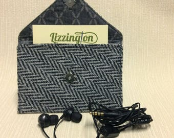 Tweed business card case/headphone case/pouch in black and white herringbone