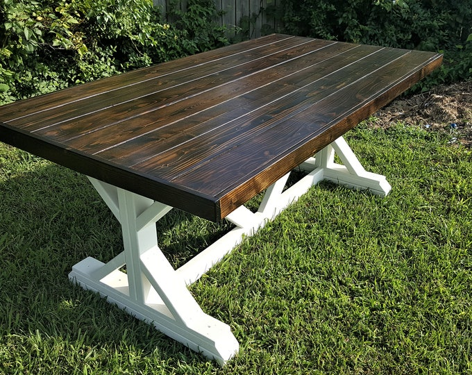 Featured listing image: Farmhouse Table, Fancy X, Trestle Leg, Handmade, Solid Wood, Kitchen and Dining Room Furniture, Family Gathering, Country, Rustic