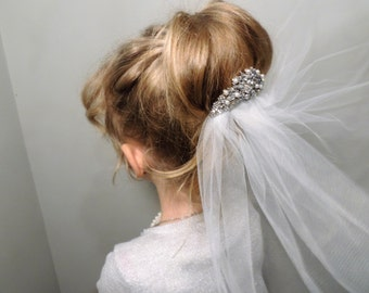 First Holy Communion Veil with rhinestone embellishment applique comb