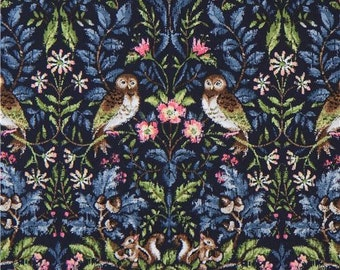 213061 navy blue with owl flower leaf oxford fabric by Kokka