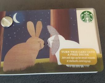 Starbucks Upcycled Refillable Giftcard Notebook - 2015 Holiday Bunnies/Rabbits & Moon