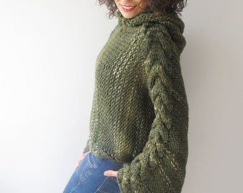 Plus Size Chunky Tweed Green Knitting Sweater with Hoodie by Afra