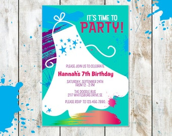 Painting Party Invitation - Paint Splatter Birthday Invitation - Pottery Party Invitation - Art Party Invitation -Art Birthday