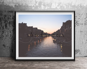 SHE DREAMS, Colour Typography Print, Amsterdam, Street Photography, Sunset, Canal, City, Cityscape, Wanderlust, Wall Art