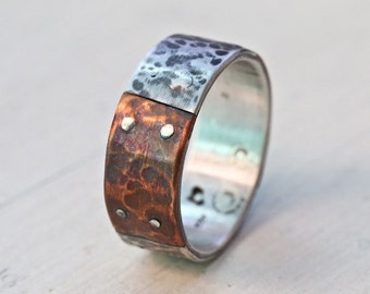 Unique silver copper band, men engagement silver band, rustic silver wedding ring, engagement silver ring, artisan jewelry , Studioadama