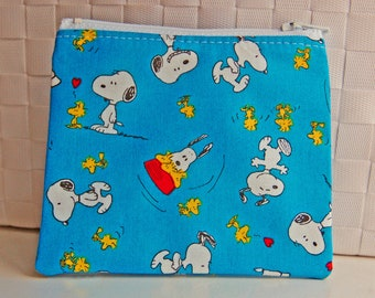 Peanuts Snoopy Woodstock handmade small zipper pouch cute change purse dog bird zip pouch wallet
