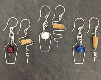 Wine Lovers Earrings. Wine Bottle and Cork Screw Sterling Silver Earrings with Red Grape and real cork.