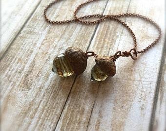 Glass Autumn Acorn Necklace: Woodland Doubles by Bullseyebeads